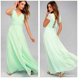 Lulus World on a String Mint Green Lace Maxi Dress